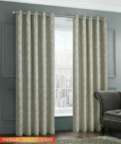 EMBOSSED DAMASK LIVINGROOM BEDROOM THERMAL BLOCKOUT RINGTOP EYELET CURTAINS NATURAL